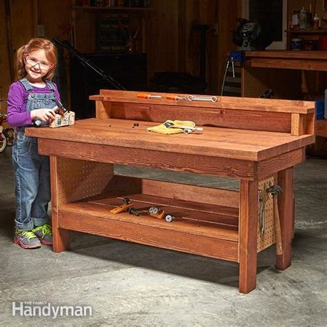 childs work bench mini classic diy workbench for kids the family handyman