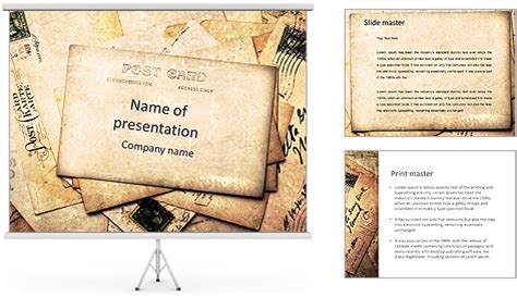 retro post card powerpoint template backgrounds id