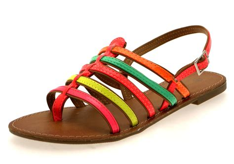 shoes for summer womens fluorescent summer sandals neon flip flops gladiator shoes size uk 3 8