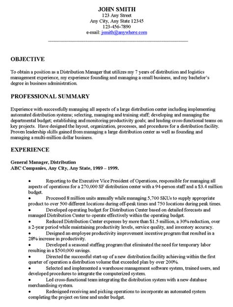 General Career Objective Exles by Distribution Manager Executive Resume Exle