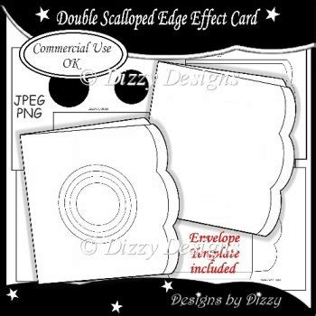 scalloped edge large with point card template scalloped edge template