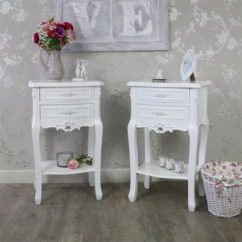 Pair 2 White Rose Bedside Tables Cabinets Shabby Vintage White Shabby Chic Furniture