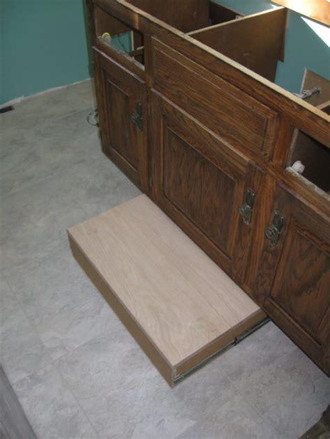 Toe Kick Step Stool by Vanity Toekick Space Step Stool Storage Finish Carpentry Contractor Talk