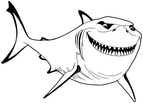 nemo shark coloring pages how to draw bruce from finding nemo with simple steps
