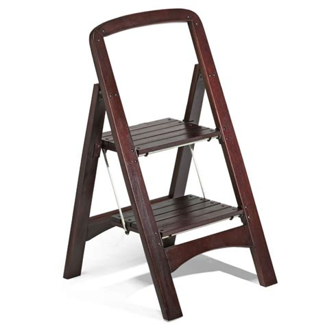 Two Step Stool by Walnut 2 Step Wooden Stool The Container Store