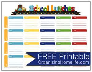 Free School Lunch Menu Templates by School Lunch Ideas A Free School Lunches Printable