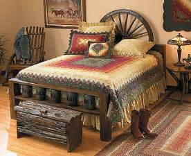 the trunk the wagon wheel headboard and that quilt
