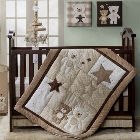 neutral crib bedding sets b is for bear nursery baby bear 4pc bedding set