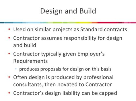 how do design and build contracts work muckle llp which contract should i be using