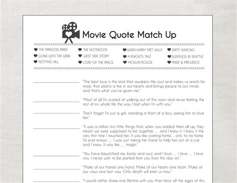 printable bridal shower games movie love quotes love quote matchup printable bridal shower game by