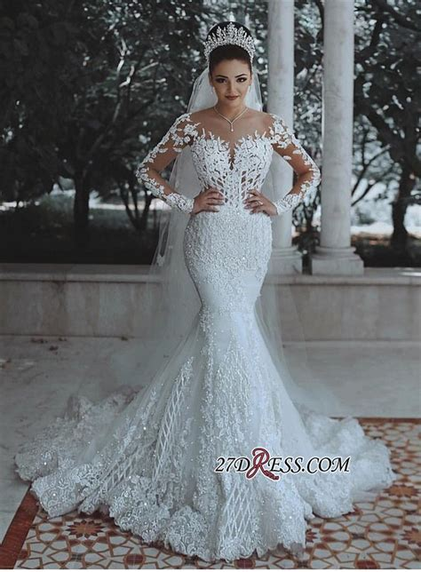Glamorous Long Sleeve Lace Wedding Dress   2019 Mermaid
