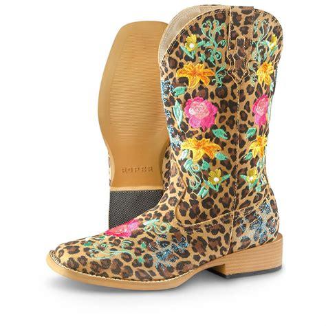 s floral boots s roper floral suede cowboy boots leopard floral