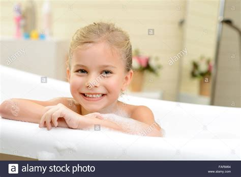 pretty taking bath stock photo royalty free