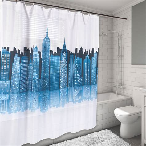 water resistant shower curtain new york city skyline design water resistant fabric shower