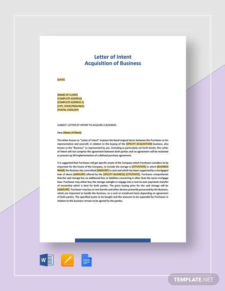 letter intent acquisition business template word