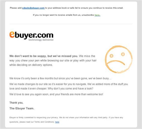 Customer Retention Letter Exle Of A Customer Retention Email From Ebuyer Smartdog Digital