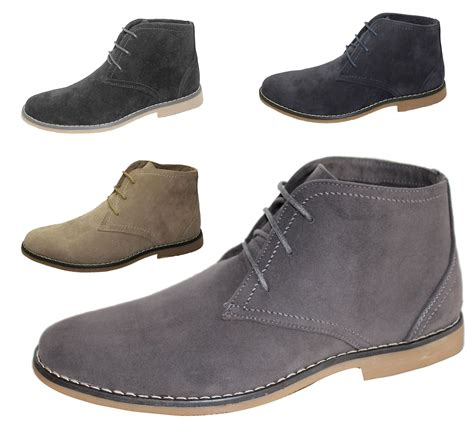 preppy mens boots mens synthetic suede desert boots casual lace up winter