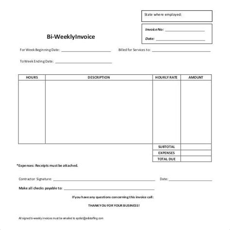 weekly invoice template blank invoice template 52 documents in word excel pdf
