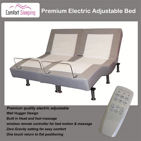 premium electric adjustable bed with and wall hugger system size comfortsleeping