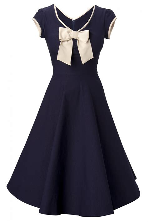 Stop Staring 50s Belinda Navy Tan Swing Dress