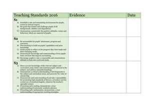 teaching standards evidence grid by hjacks teaching