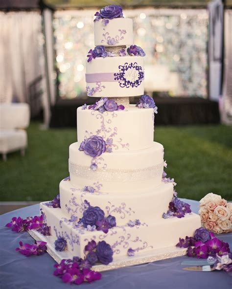 purple bling wedding cake wedding cake with purple accents and bling