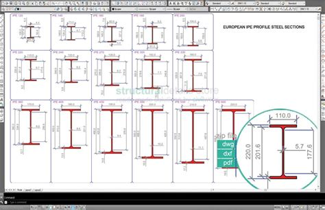steel sections pdf european ipe profile steel sections dwg cad drawings