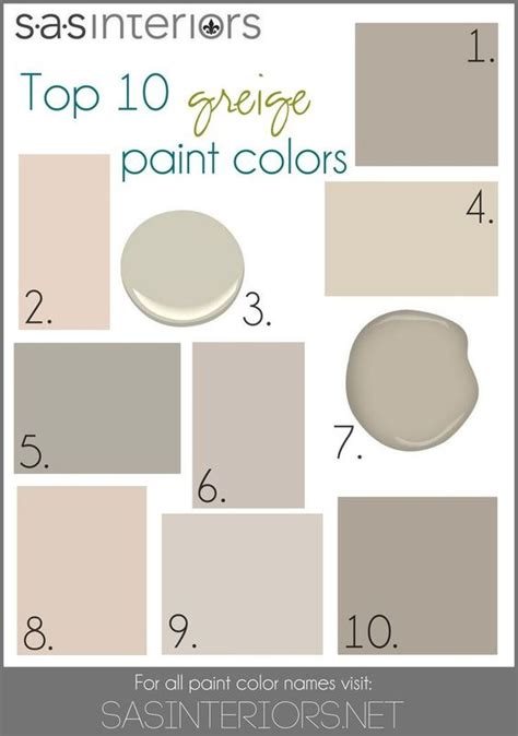 top 10 greige paint colors for walls 1 sherwin williams mega greige 2 valspar woodrow wilson