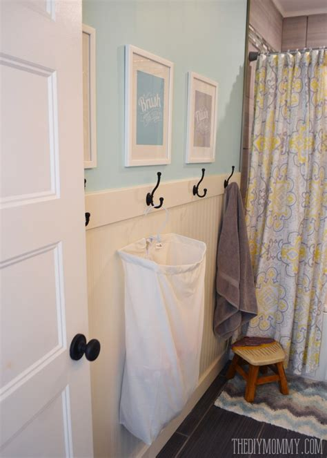 diy bathroom shower ideas a diy beadboard hook wall in the kids bathroom the diy