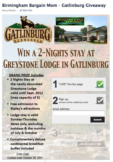 Gatlinburg Vacation Giveaways - bargain mom gatlinburg 2 night vacation package giveaway via greystone lodge al com