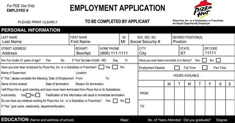 pizza hut application form pizza hut application printable employment forms