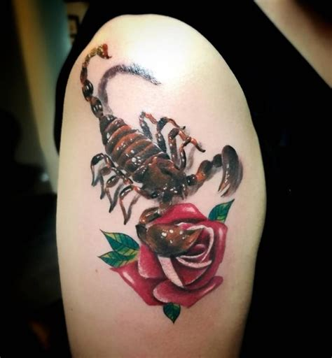 scorpion with rose tattoo scorpion tattoos meaning best design ideas for everyone