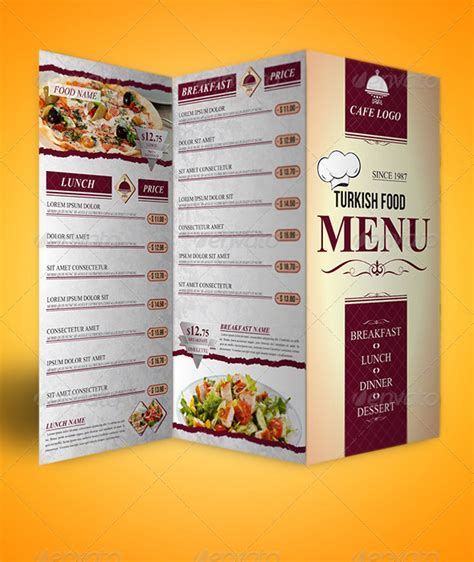 3 fold menu template trifold menu template food menus restaurant food menus
