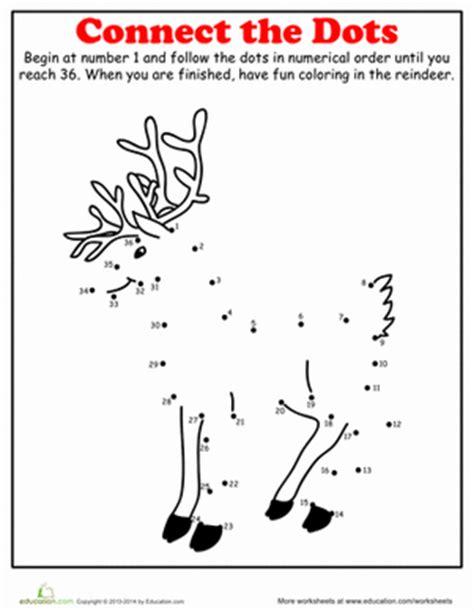 printable reindeer worksheets christmas dot to dot reindeer worksheet education com