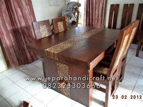 Kursi Meja Makan Koin Kayu Trembesi Solid jual set kursi makan antik trembesi koin jati murah