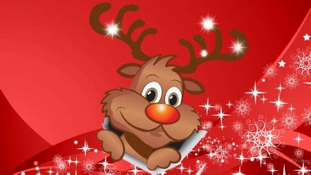 christmas wallpaper rudolph happy break through deer animals background wallpapers