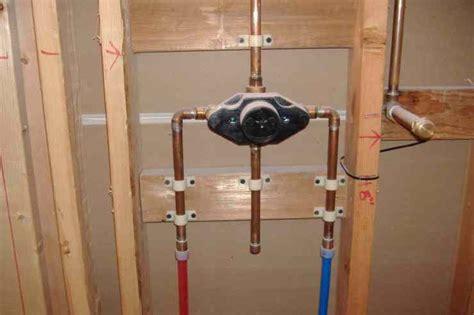 pex support through floor stub new shower valve s installed using pex pipe macias