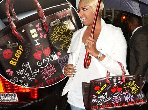 nene leakes blue stone necklace nene leakes defaces hermes birkin bag with catchphrases