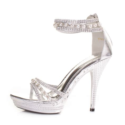 silver prom high heels high heel silver diamante pearl ankle wedding