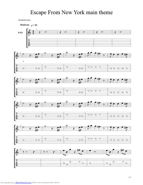 theme music escape from new york escape from new york theme guitar pro tab by misc