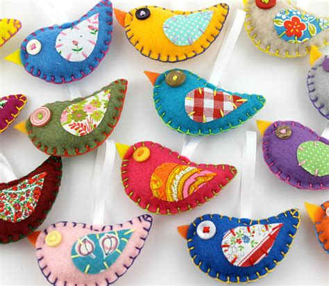 Kerajinan Flanel Cookie Set felt bird ornaments wholesale lot of 8 vintage fabric birds