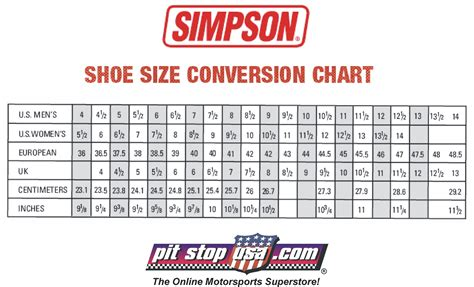 sizing chart auto racing shoes