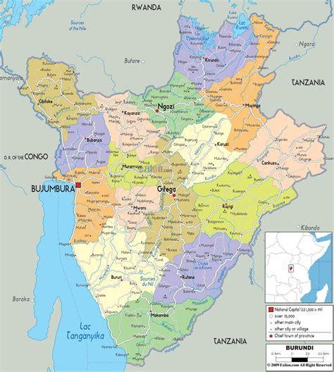 africa map burundi detailed political map of burundi ezilon maps
