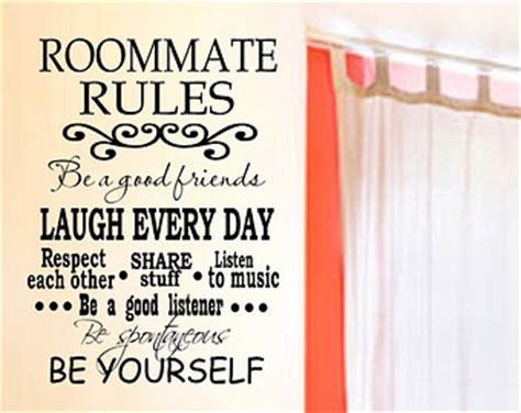 College dorm roommate rules vinyl wall decal with decorative scroll