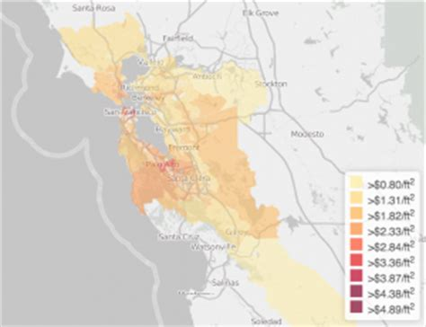 Affordable Mba Bay Area by A Map Of The Cheapest Places To Rent In The Bay Area