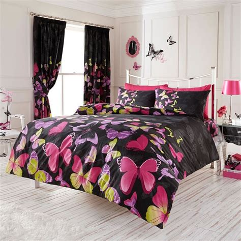 Pink And Black Bedding For Adults by Fashion Butterfly Duvet Cover Set Black Pink Ebay