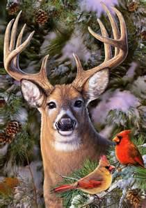About winter deer cardinal buck pines snow lg house garden flag