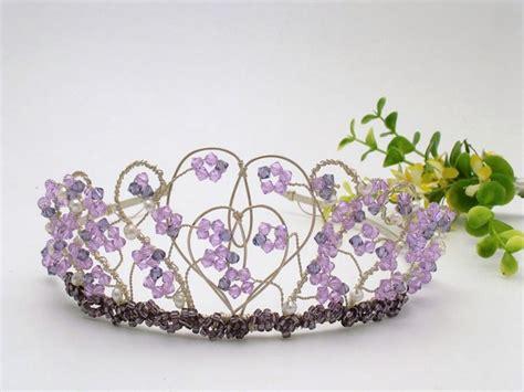 Handmade Tiara - silver shaped wedding tiara with lilac and purple