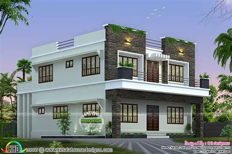 front side and back view of box model home kerala home
