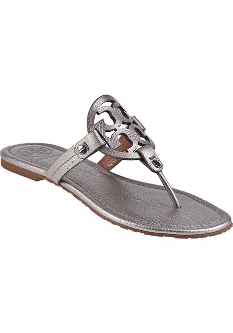 burch silver sandals lyst burch miller sandal pewter leather in